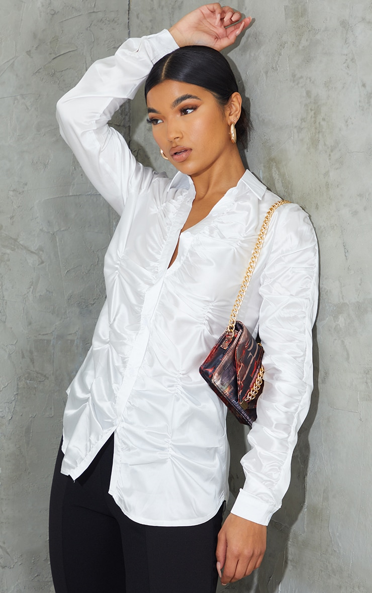 White Satin Extreme Ruched Shirt