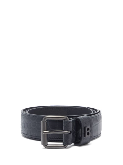 Balenciaga - B-plaque Crocodile-effect Leather Belt - Mens - Black