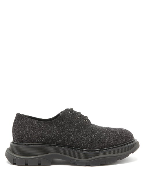 Alexander Mcqueen - Tread Glitter, Suede And Leather Derby Shoes - Mens - Black
