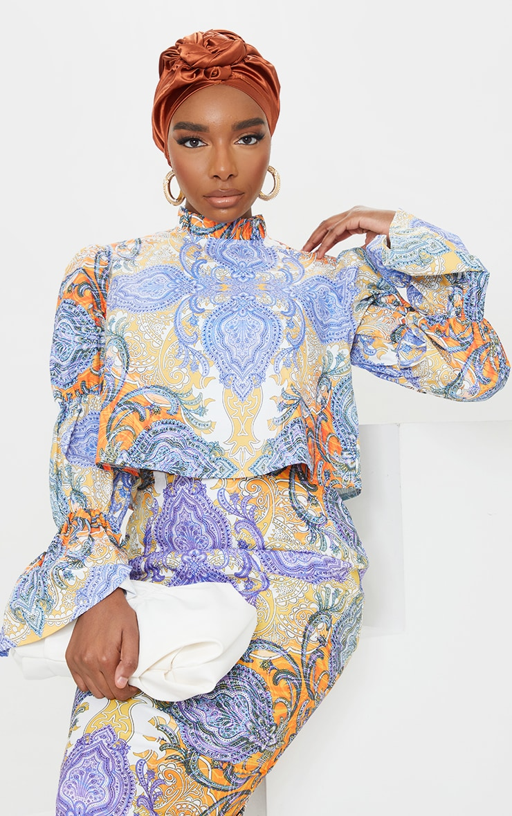 Sage Paisley Printed High Neck Puff Sleeve Top