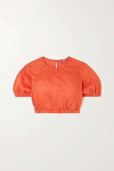 STAUD - Athena 短款亚麻上衣 - 橙色 - medium