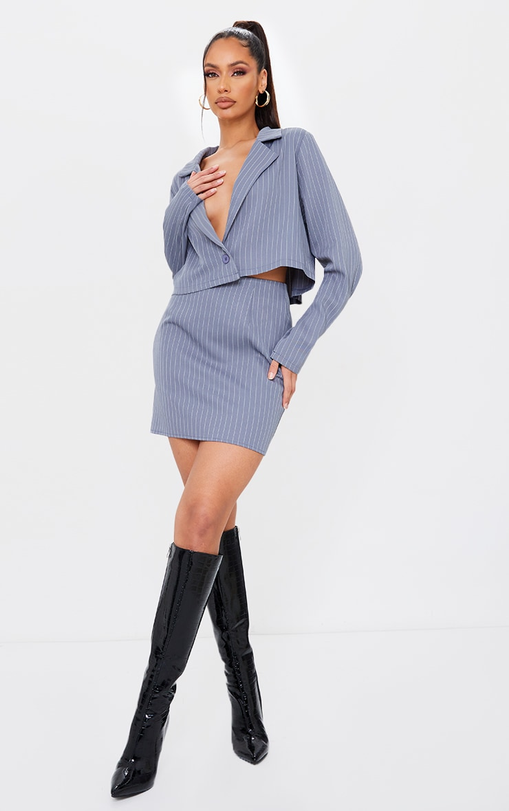 Charcoal Grey Pinstripe Mini Skirt