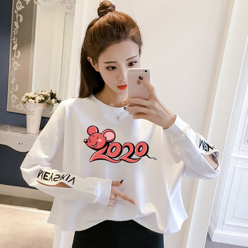 【現貨免運】【AISHA】☒▤2020春秋新款韓版蝙蝠袖白色短款長袖t恤女寬松薄款打底衫上衣潮