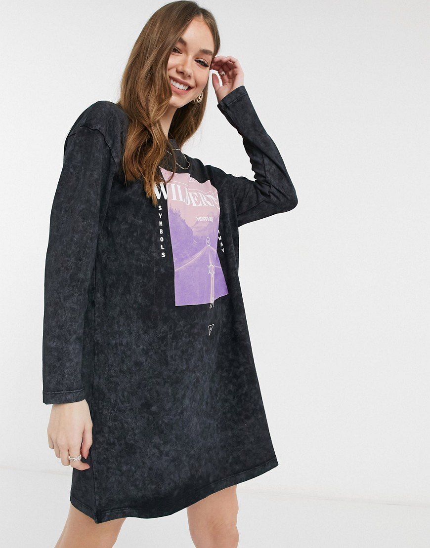ASOS DESIGN oversized long sleeve t-shirt dress with wilderness graphic in acid wash grey-Black