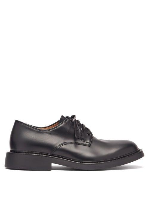 Bottega Veneta - The Level Brushed-leather Shoes - Mens - Black