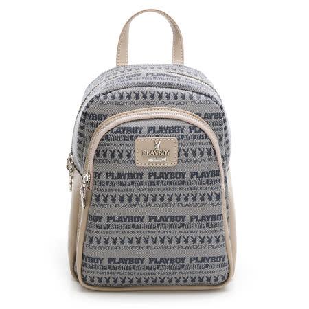 PLAYBOY- 後背包可斜背 萬花筒系列-米色