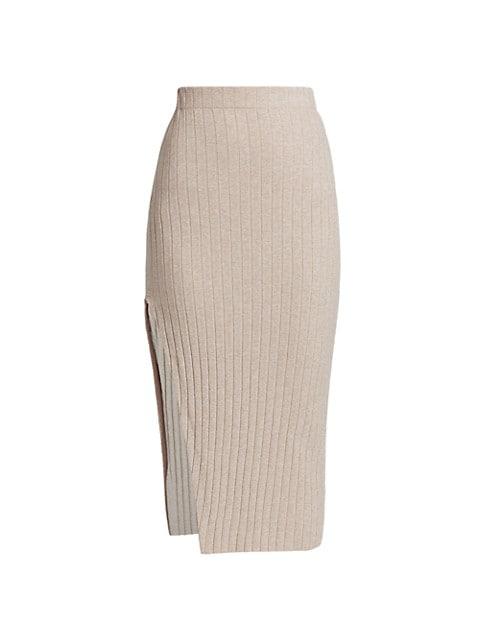 Irenna Knit Side-Slit Skirt