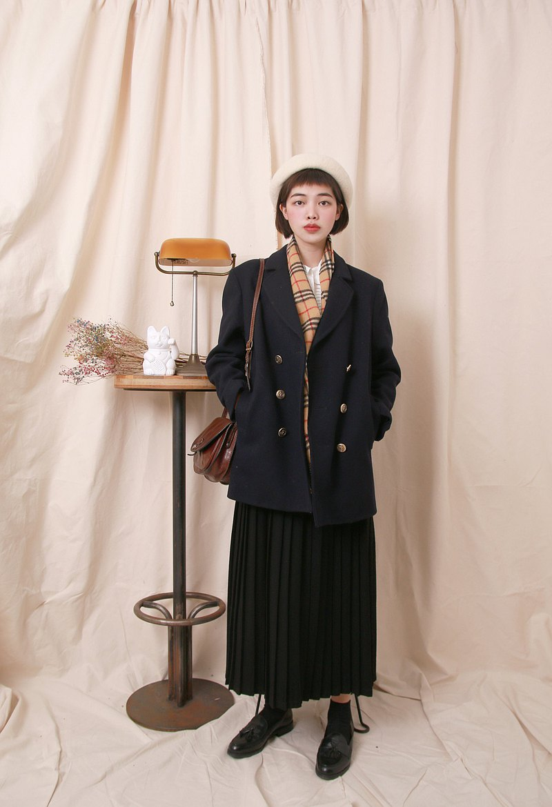Back to Green:: 羊毛大衣 黑 西裝外套形 vintage overcoat