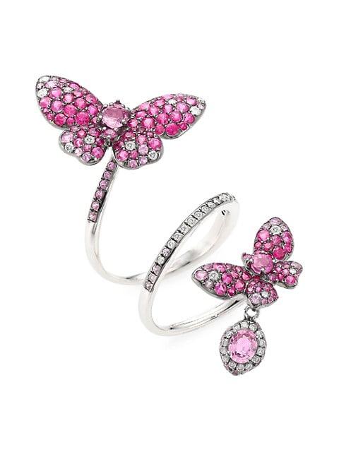 Butterfly 18K White Gold, Pink Sapphire & White Diamond Full-Finger Spiral Ring