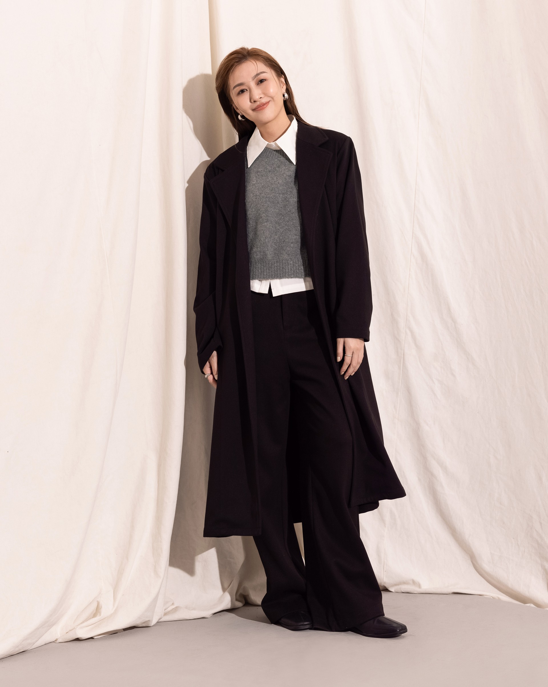 率性西裝腰綁帶大衣-Meierq
