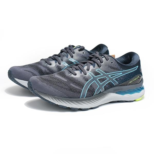ASICS 慢跑鞋 GEL NIMBUS 23 灰藍 寬楦 高緩衝 路跑 緩震 男 (布魯克林) 1011B004020