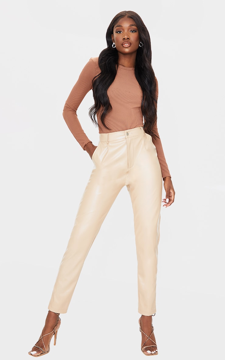 Tall Stone PU Straight Leg Pants