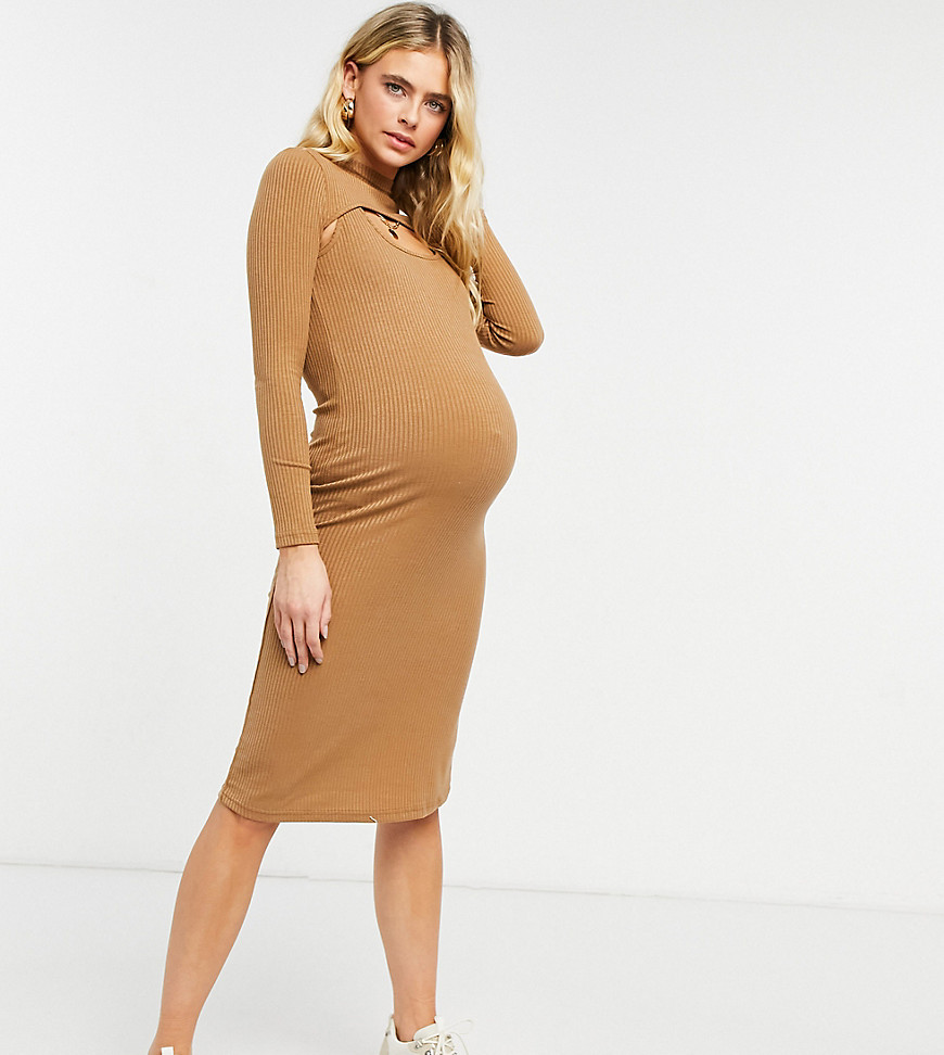 Fashion Union Maternity high neck cut out midi bodycon dress in rib-Brown