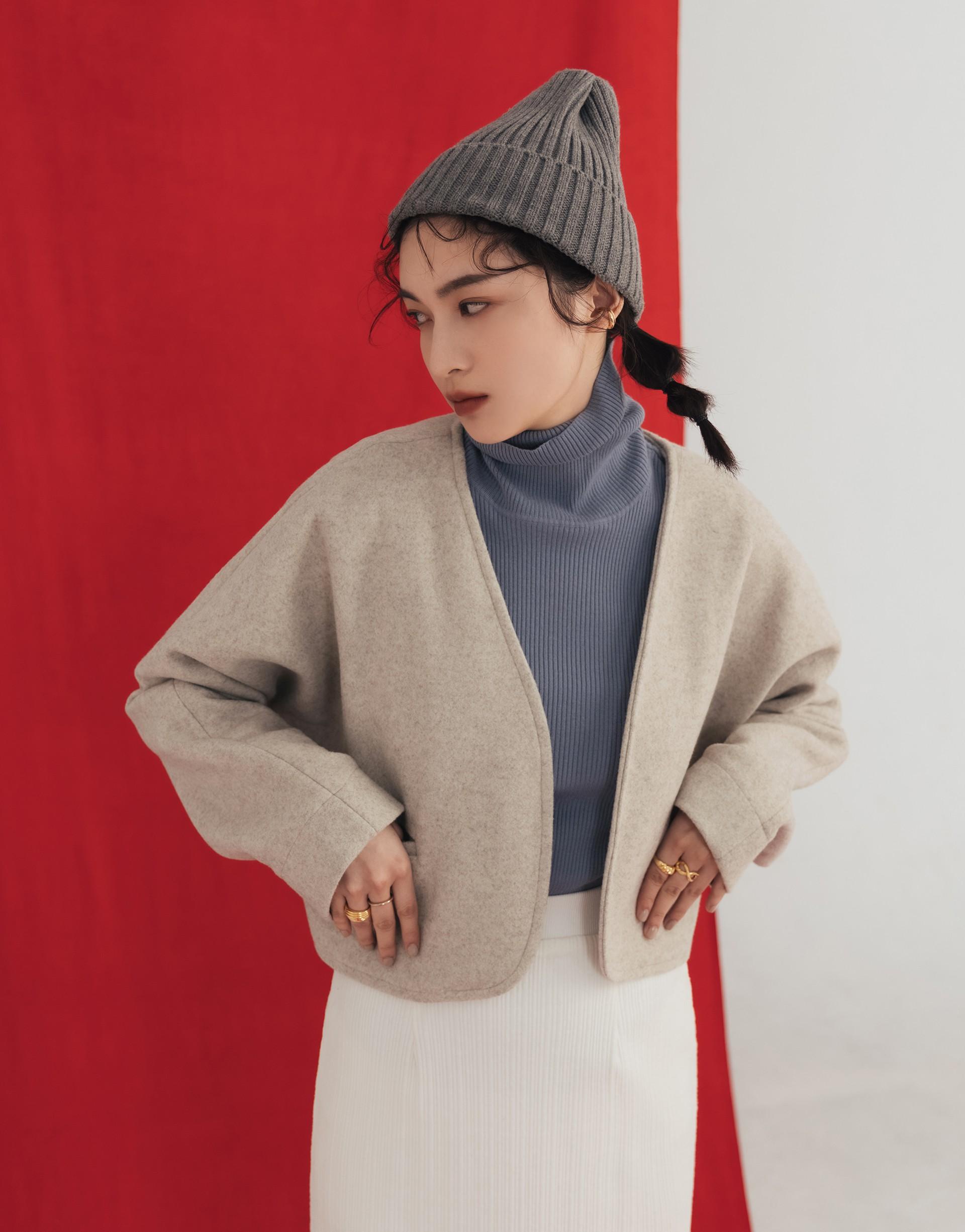 韓系質感短版毛呢外套-PAZZO