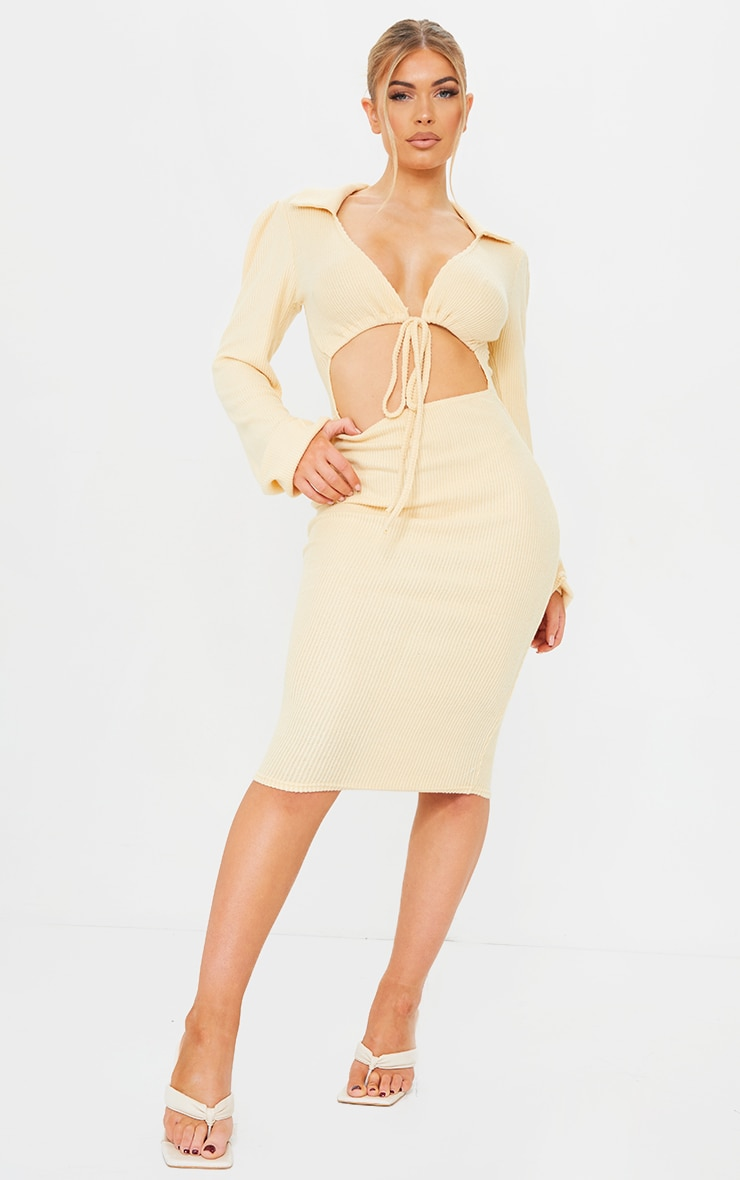 Stone Brushed Rib Collar Detail Cut Out Midi Dress