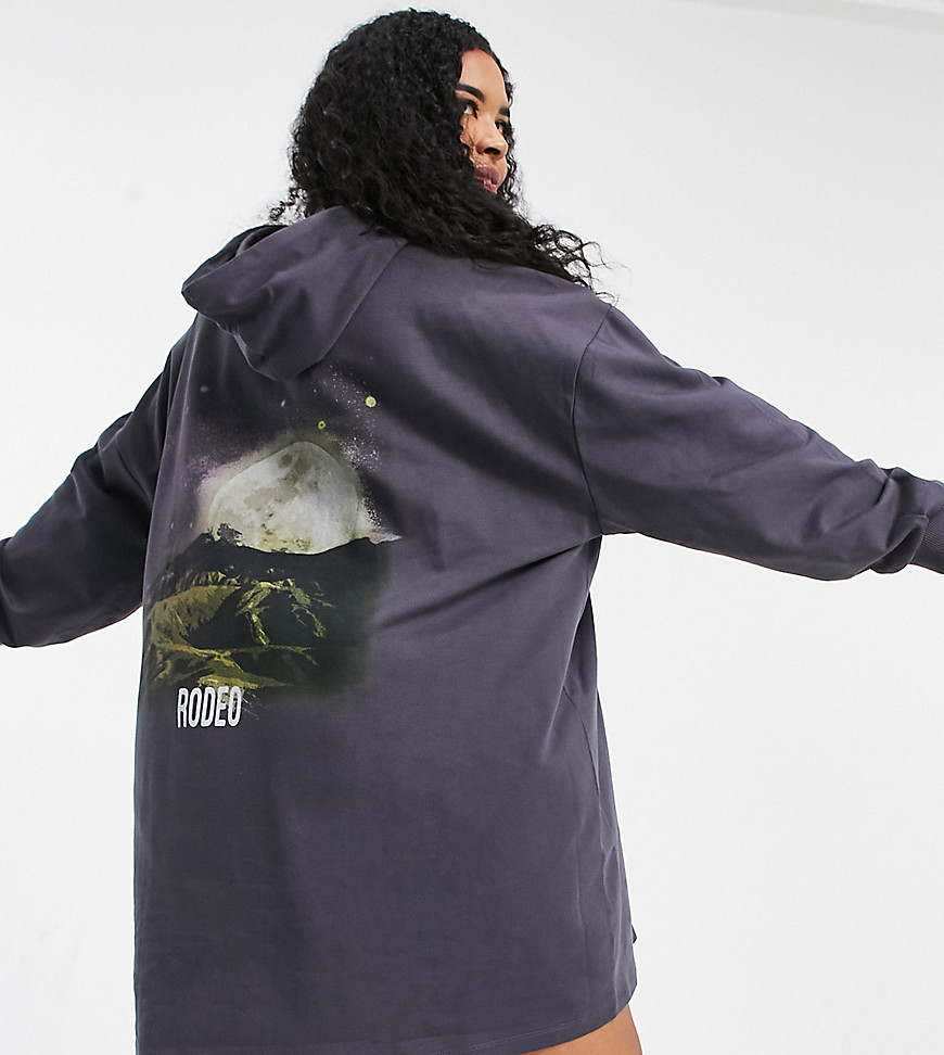 ASOS DESIGN Curve oversized hoodie dress with rodeo photographic back print in dark grey