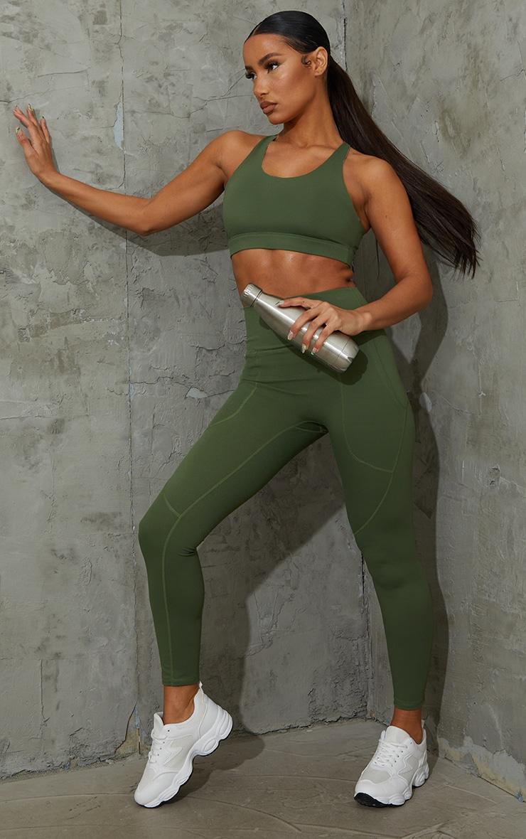 Khaki Sculpt Luxe Pocket Gym Legging