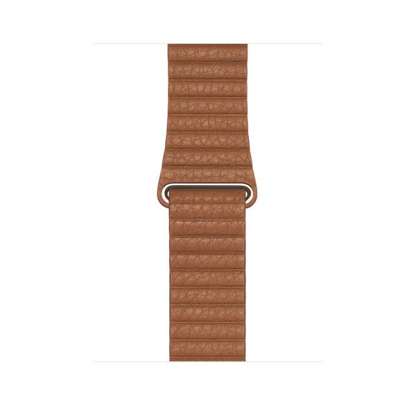 44 公釐馬鞍棕色皮革錶環 - L Apple