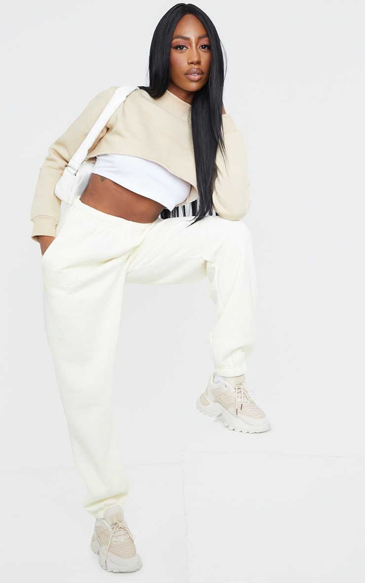 PRETTYLITTLETHING Cream Established Slogan Casual Track Pant