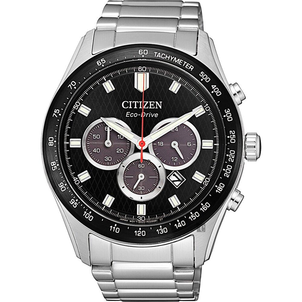 CITIZEN 星辰 亞洲限定光動能計時手錶-黑x銀/43mm(CA4454-89E)