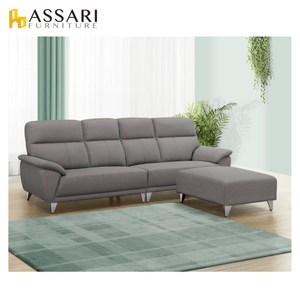 ASSARI-貝蒂L型貓抓皮獨立筒沙發雲灰色
