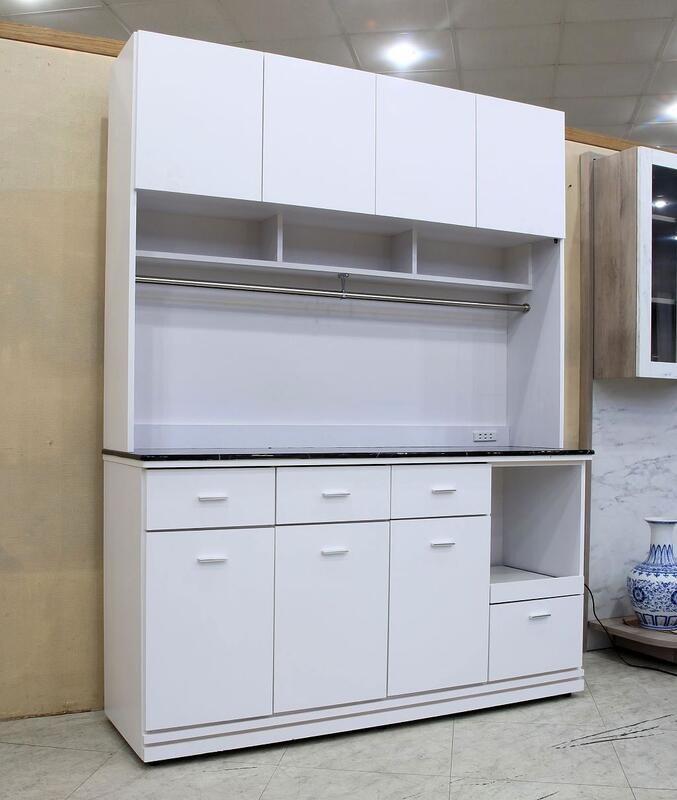 歐風別館麗晶五尺白色黑白根石面餐櫃基隆至台中免運費