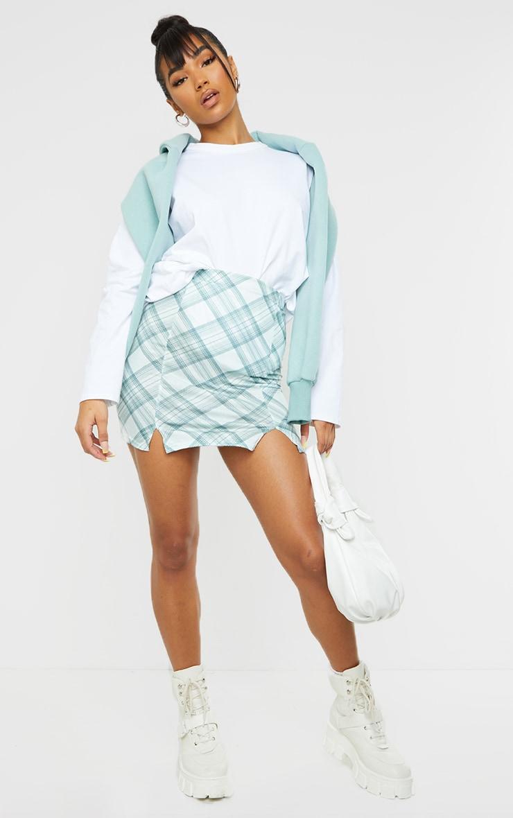 Green Check Double Split Hem Mini Skirt