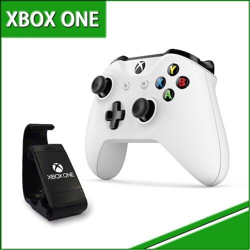 微軟Xbox One 原廠無線藍芽控制器-白色+專用手機直立放置架