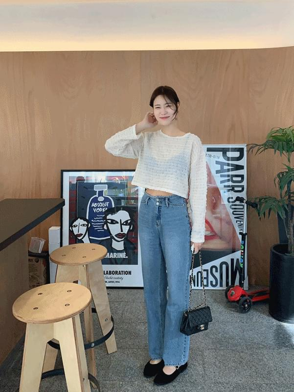 韓國空運 - Two-button Mid Blue Denim 牛仔褲