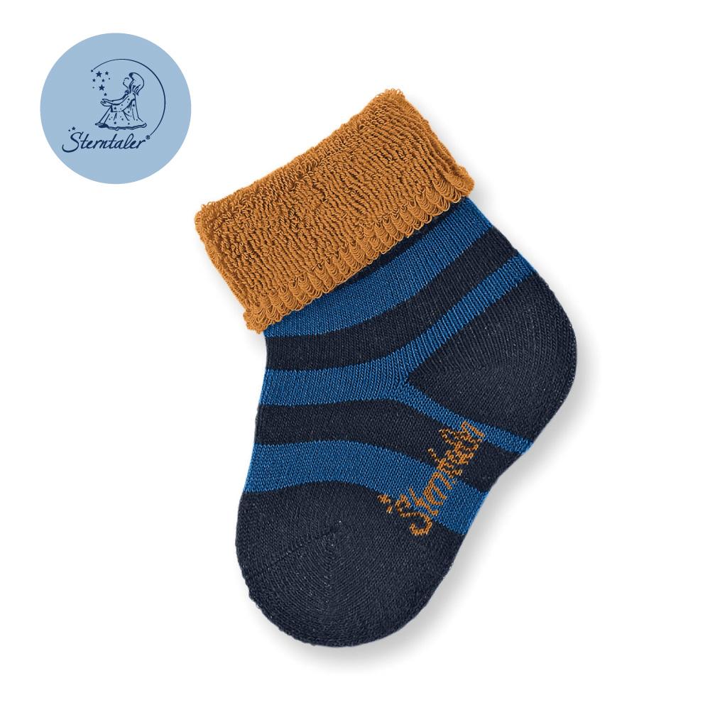 STERNTALER 雙色條紋初生襪子8cm-咖藍