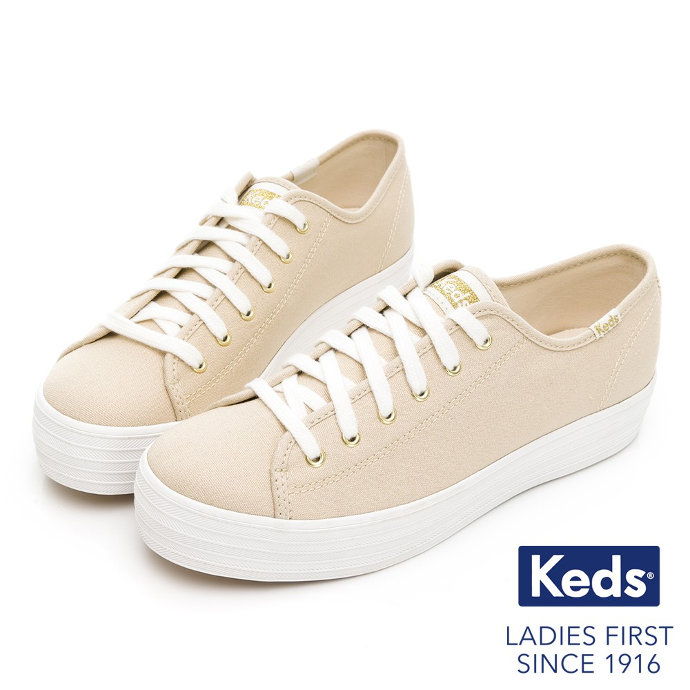 Keds TRIPLE KICK 奢華金絲帆布休閒鞋-粉膚