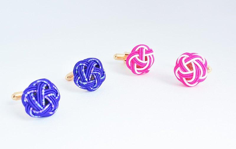 給他的情人禮物!日本Mizuhiki袖扣|海軍藍色和粉紅色