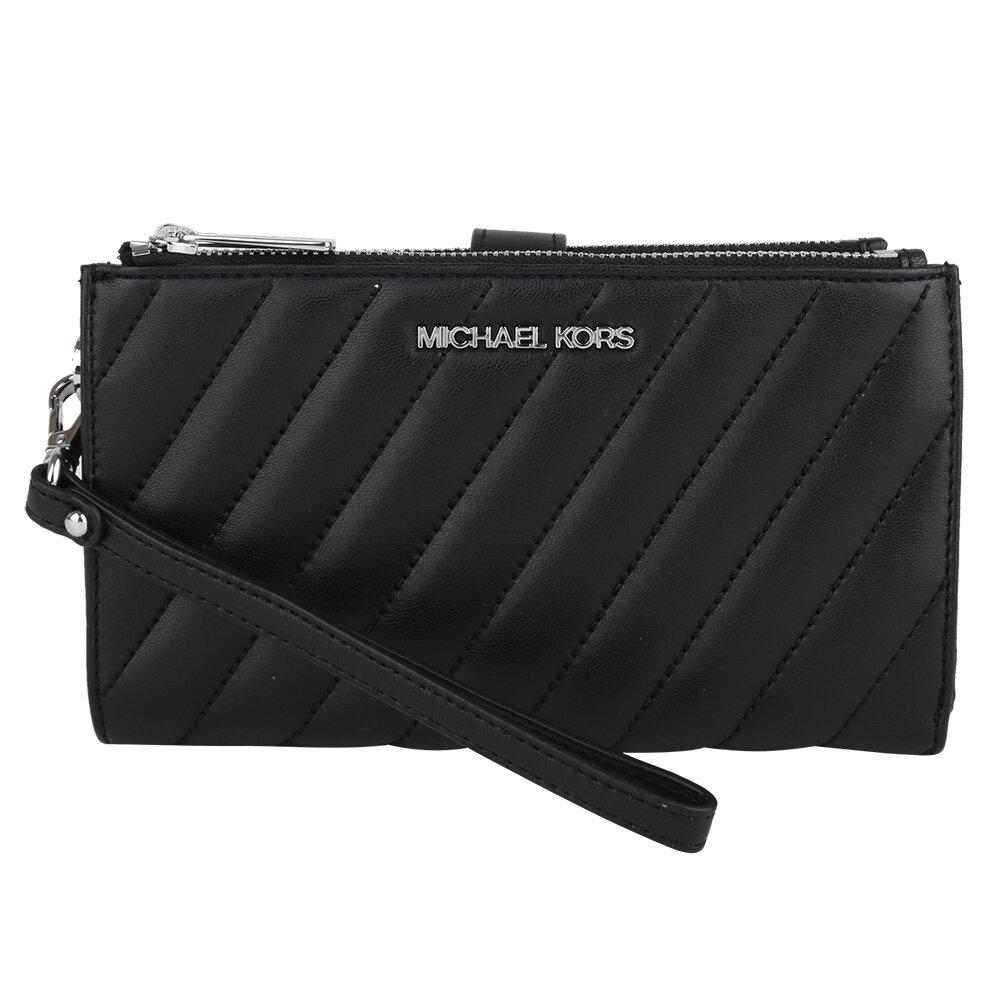 MICHAEL KORS 銀字斜紋皮革掛帶釦式中夾/手機包(黑)