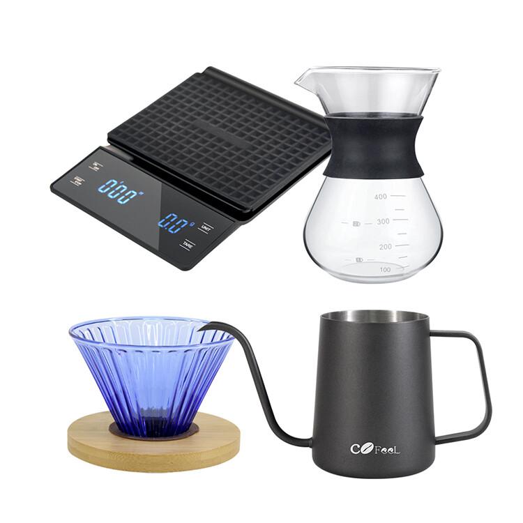 cofeel 凱飛手沖入門組玻璃濾杯咖啡壺+咖啡手沖壺細嘴壺+電子計時秤+手沖玻璃咖啡濾杯