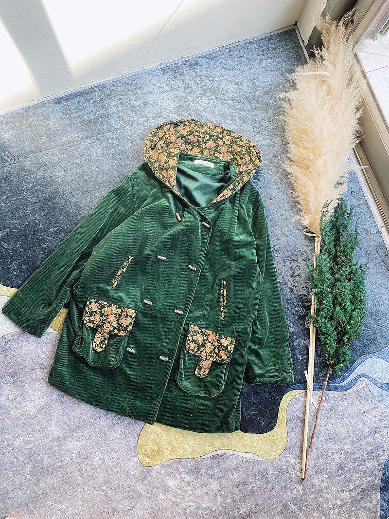 森林綠經典x文藝拼花口袋 粗織燈芯絨連帽雙排釦大衣外套vintage