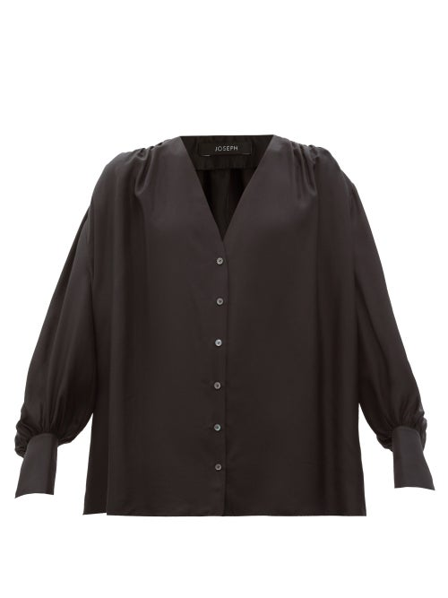 Joseph - Bary Gathered Silk-habotai Blouse - Womens - Black
