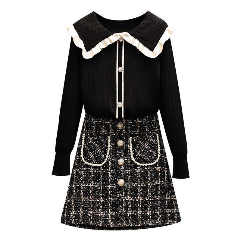 洋氣套裝女毛衣針織衫顯瘦冬季半身裙兩