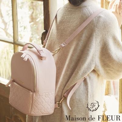 Maison de FLEUR 氣質浮雕玫瑰手提後背包