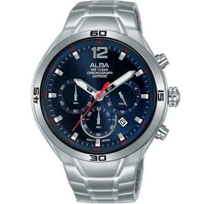 ALBA 雅柏 運動風計時男錶-44mm藍面(AT3G37X1/VD53-X353B)