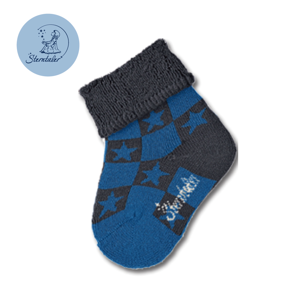 STERNTALER 雙色星星初生襪子8cm-深藍