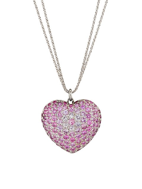 18K White Gold & Pink Sapphire Heart Pendant Necklace