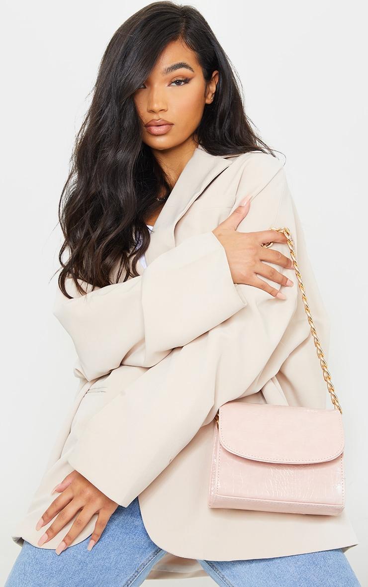 Pink Croc Chunky Chain Shoulder Bag