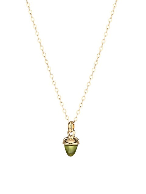 My Mikado 18K Yellow Gold & Green Peridot Acorn Pendant Necklace