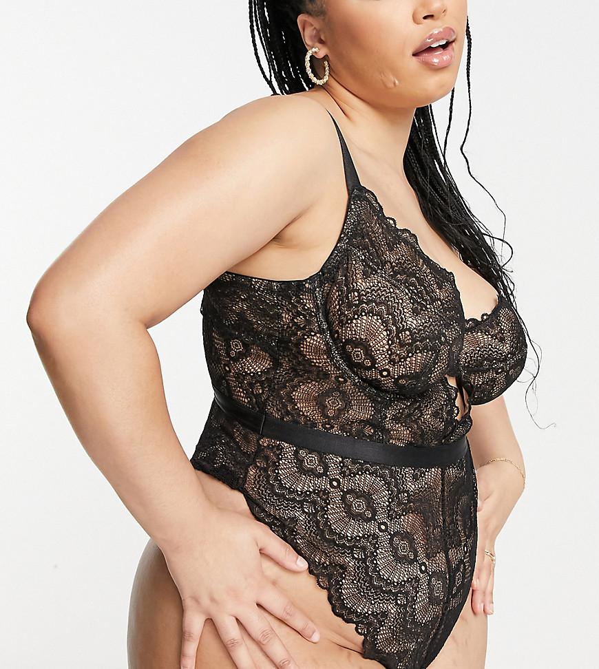 ASOS DESIGN Curve Rosie lace underwired body in black