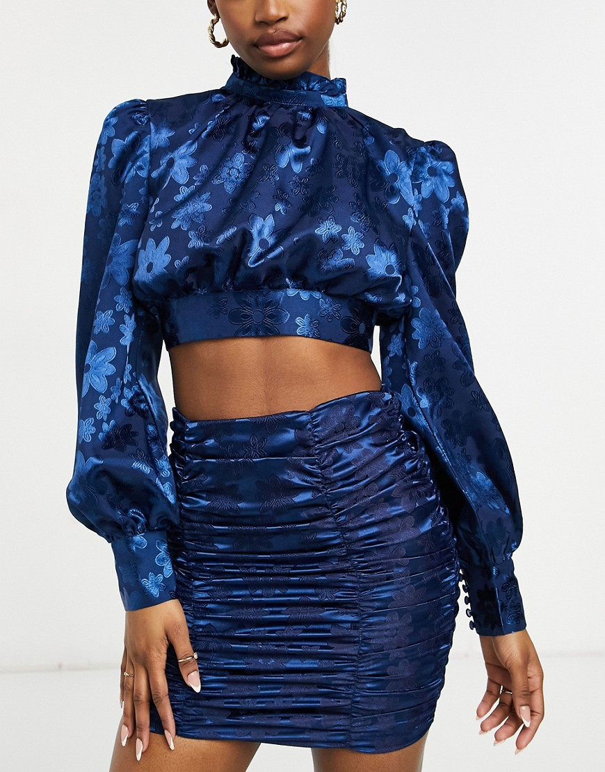 Collective the Label high neck tie back satin top co-ord in navy