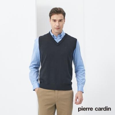 Pierre Cardin皮爾卡登 男裝 羊毛混紡素色V領毛衣背心-丈青(7205461-39)