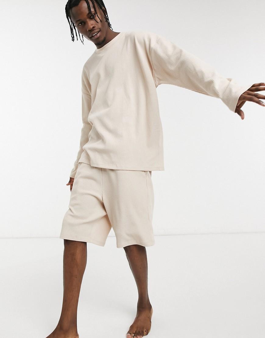 ASOS DESIGN lounge long sleeve t-shirt and shorts pyjama set in waffle-White