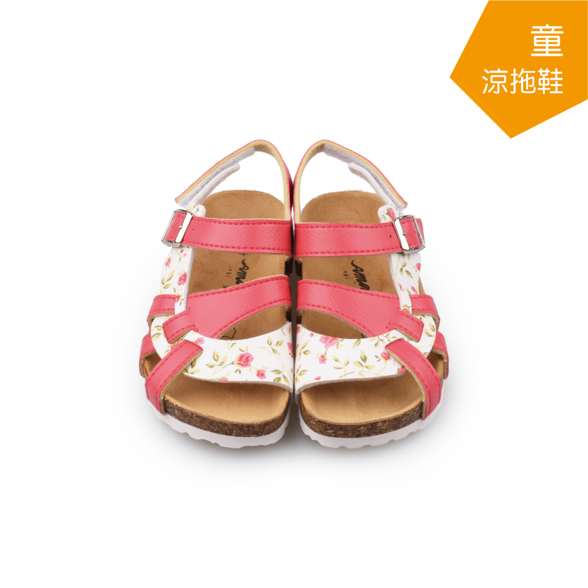 【A.MOUR 經典手工鞋】兒童涼拖鞋 - 桃(3011)