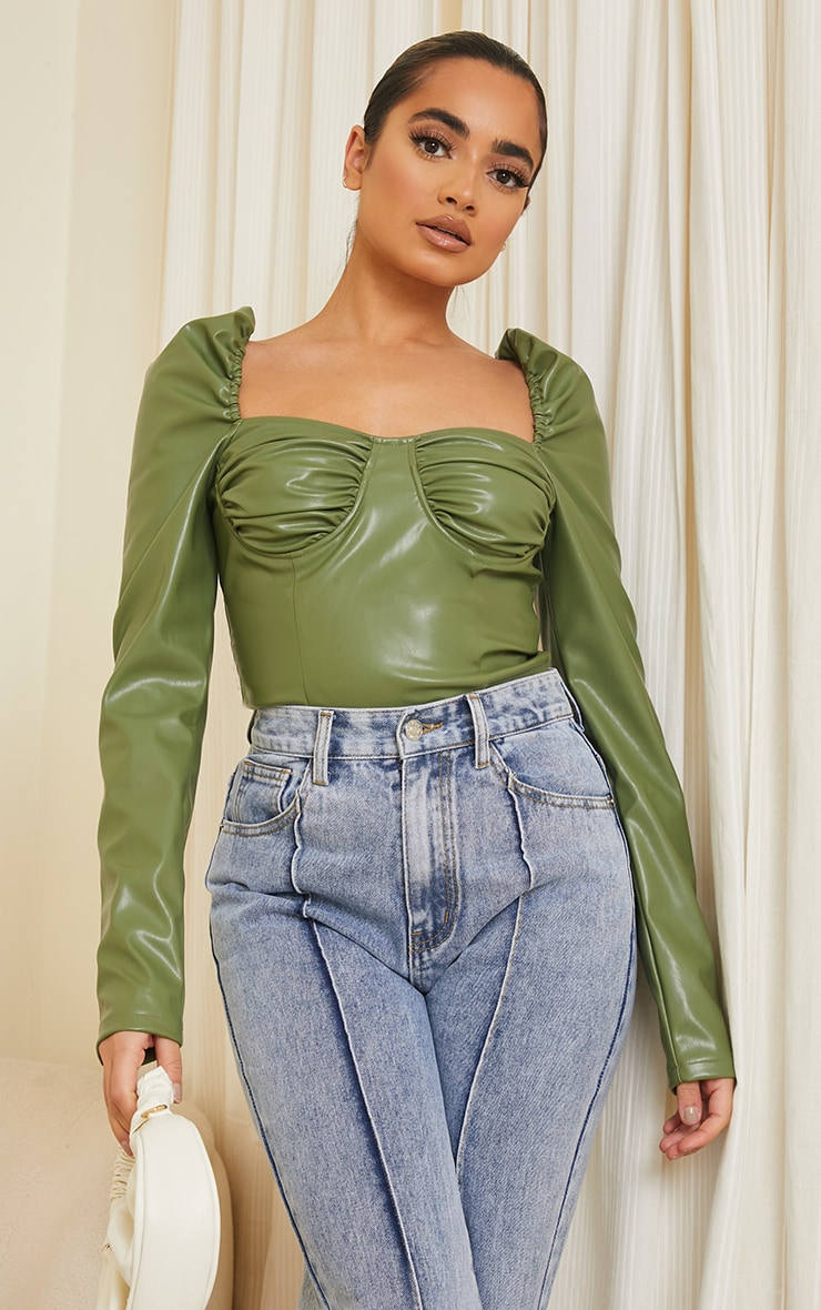 Petite Olive PU Ruched Corset Bodysuit