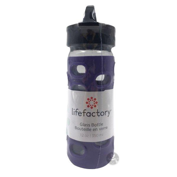 LIFEFACTORY 平口玻璃水瓶 CLA-350系列 黑皮TIME
